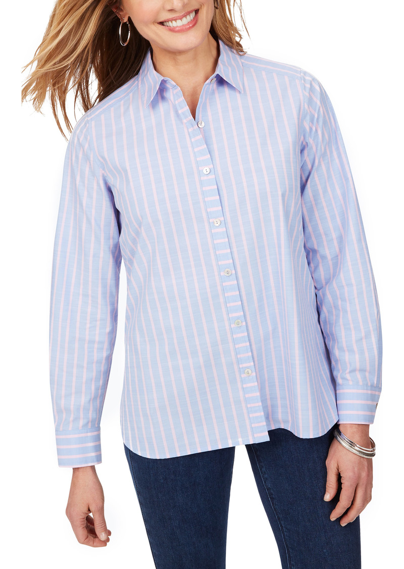 Foxcroft Anya Stripe Non-Iron Cotton Blend Tunic Blouse