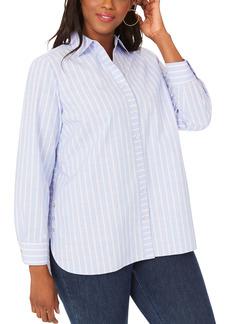 Foxcroft Anya Stripe Non-Iron Cotton Blend Tunic Blouse (Plus Size)