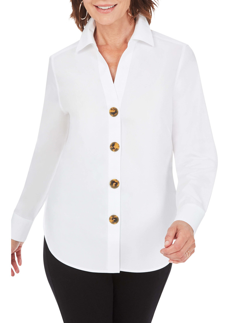Foxcroft Aris Solid Button-Up Blouse