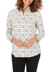 Foxcroft Ava Tile Print Wrinkle Free Shirt (Regular & Petite)