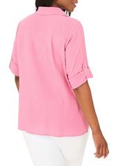 Foxcroft Blair Cotton Button-Up Shirt (Plus Size)
