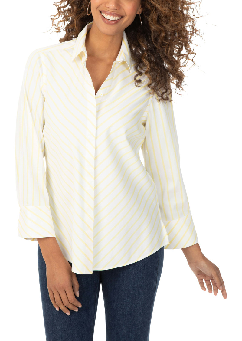 Foxcroft Brace French Stripe Stretch Non-Iron Shirt