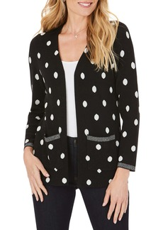 Foxcroft Brighton Jacquard Dot Cotton Blend Cardigan Sweater