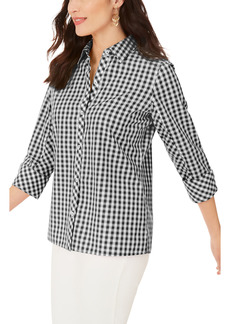 Foxcroft Britten Gingham Non-Iron Button-Up Blouse (Regular & Petite)