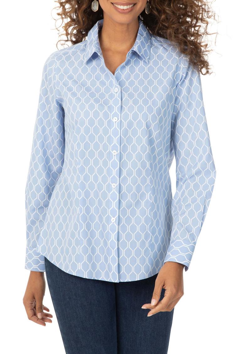 Foxcroft Dianna Geo Print Non-Iron Cotton Shirt