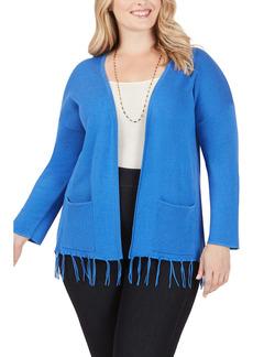 Foxcroft Flora Tassel Hem Open Cotton Blend Cardigan (Regular & Plus Size)