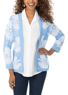 Foxcroft Floral Pattern Reversible Open Front Cardigan