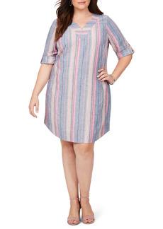 Foxcroft Harmony Beachcomber Stripe Linen Blend Shift Dress (Plus Size)