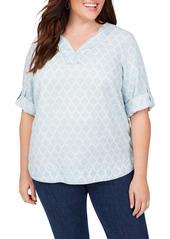 Foxcroft Harmony in Distressed Quatrefoils Shirt (Plus Size)