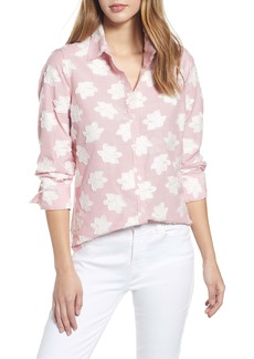 Foxcroft Havana Clip Floral Stripe Button-Up Shirt