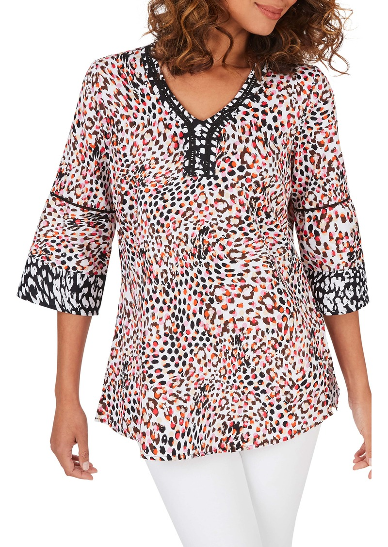 Foxcroft Heather Spirited Dot Wrinkle-Free Tunic