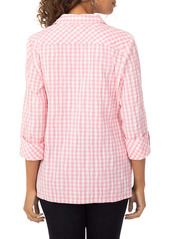 Foxcroft High/Low Crinkle Button-Up Shirt