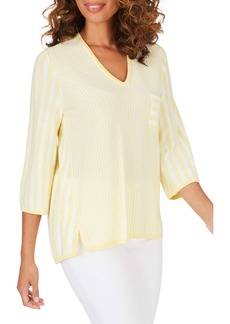 Foxcroft Jaden Mixed Stripe Cotton Blend Sweater