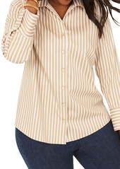 Foxcroft Jane Stretch Stripe Shirt (Plus Size)