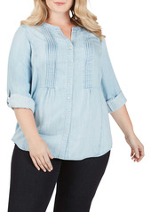 Foxcroft Kira Pleated Garment Dyed Blouse (Plus Size)