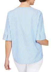 Foxcroft Koralie Twill Stripe Wrinkle Free Top