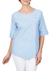 Foxcroft Koralie Twill Stripe Wrinkle Free Top