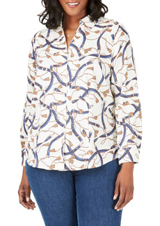 Foxcroft Lauren Belts & Tassels Button Front Shirt (Plus Size)