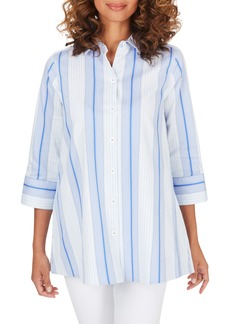 Foxcroft Lila Stripe Stretch Cotton Blend Tunic Top