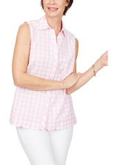 Foxcroft Lilith Non-Iron Gingham Sleeveless Cotton Blouse