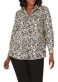 Foxcroft Lucca Leopard Print Shirt (Plus Size)
