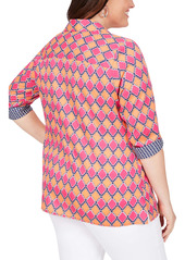 Foxcroft Maria in Summer Status Cotton Sateen Non-Iron Shirt (Plus Size)