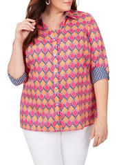 Foxcroft Maria in Summer Status Cotton Sateen Non-Iron Shirt (Plus Size)