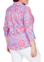 Foxcroft Mary Floral Wrinkle Free Button-Up Shirt (Plus Size)