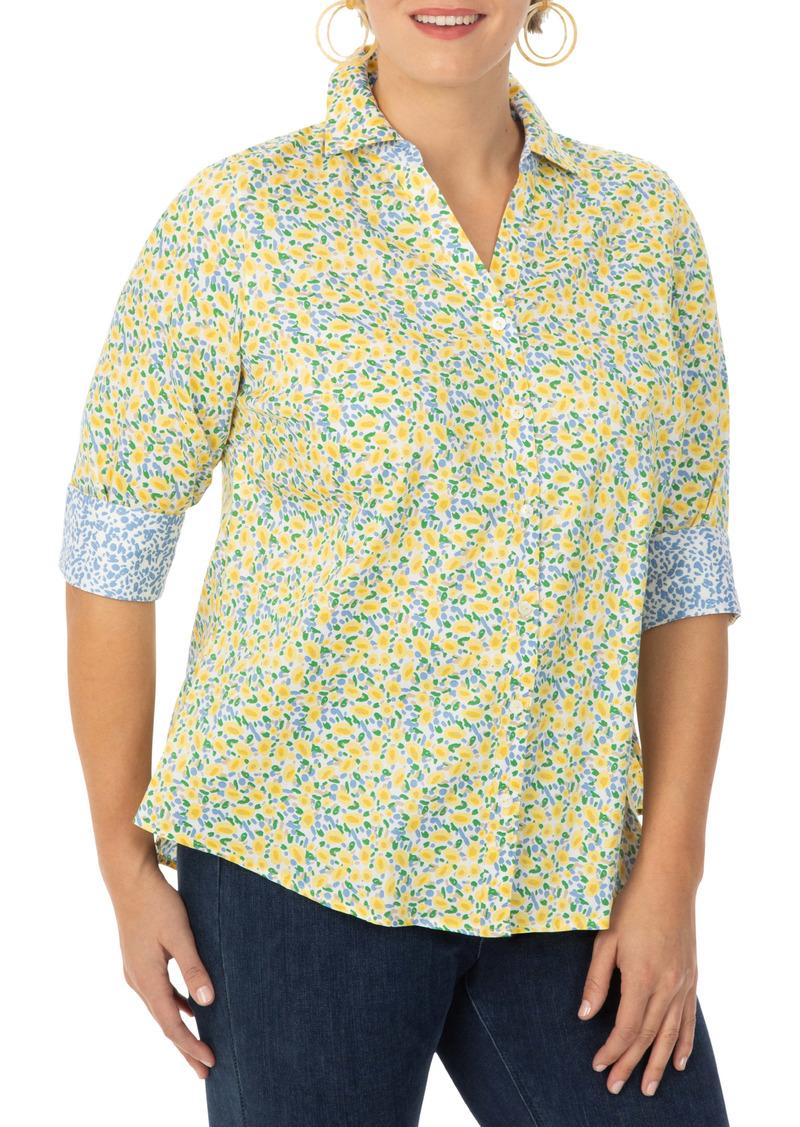 Foxcroft Mary Monet Floral Print Cotton Sateen Button-Up Shirt (Plus Size)