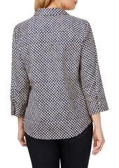 Foxcroft Mary Shadow Dot Wrinkle-Free Sateen Shirt