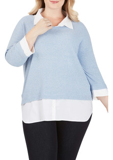 Foxcroft Miles Layered Shirt & Sweater Pullover (Plus Size)