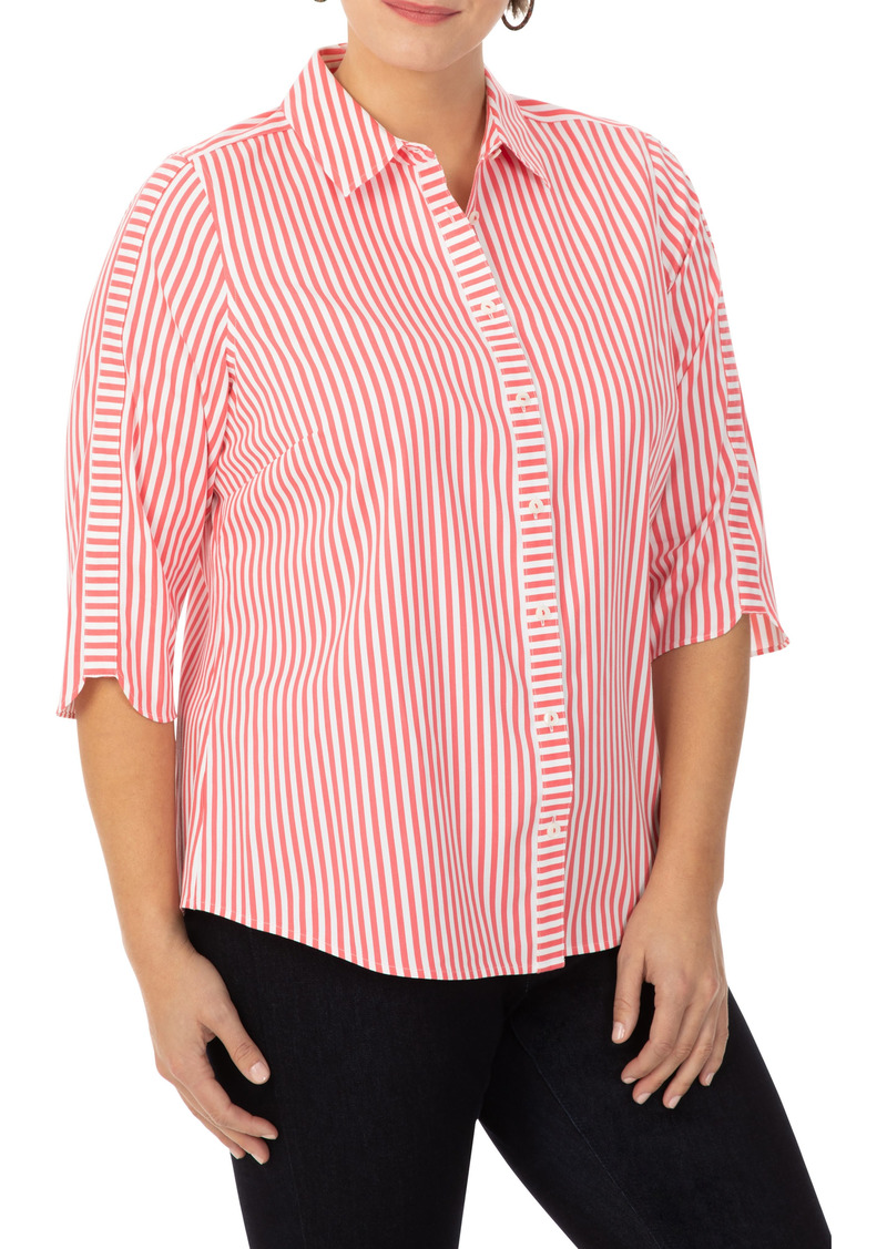 Foxcroft Non-Iron Mai Tai Stripe Button-Up Shirt (Plus Size)