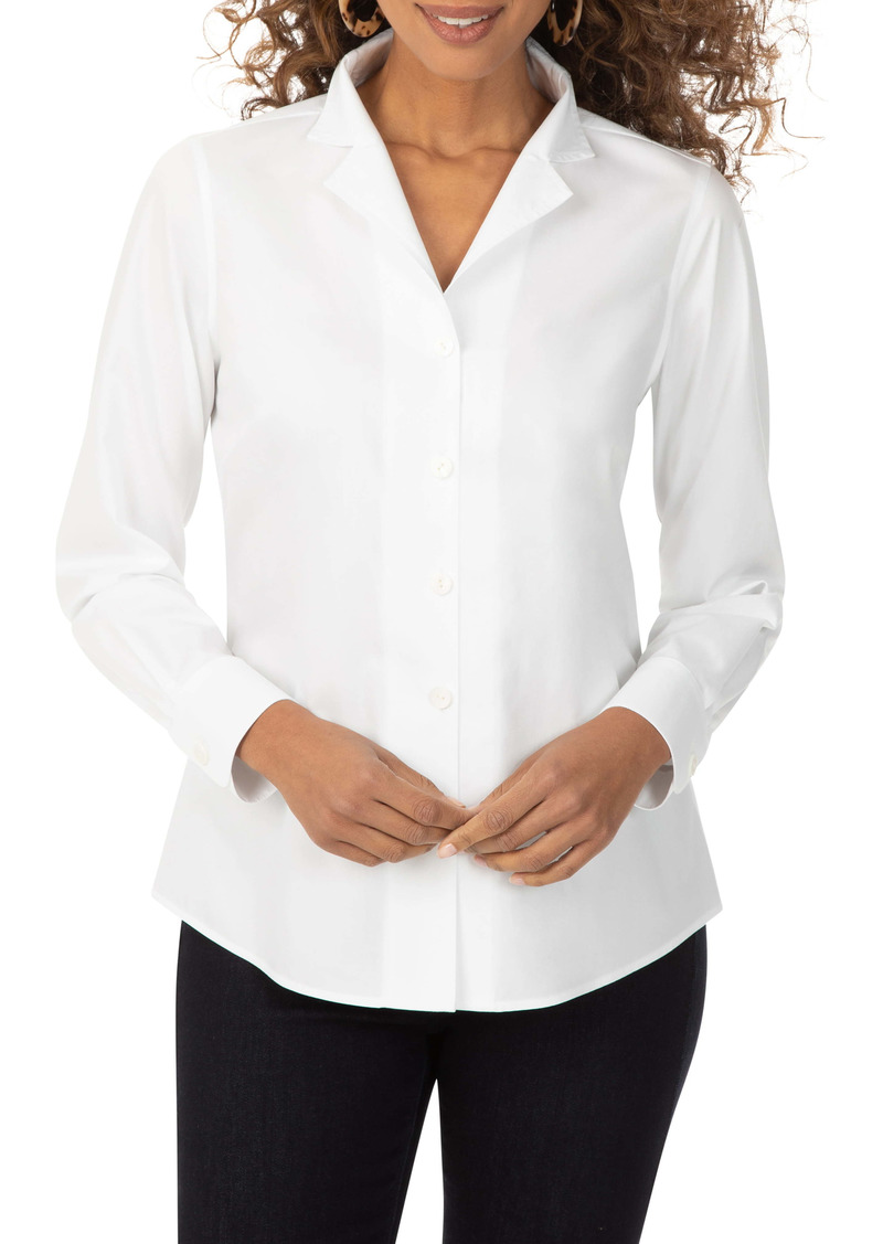 Foxcroft Non-Iron Notched Collar Button-Up Shirt