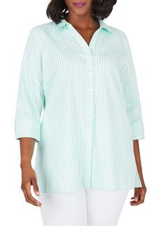 Foxcroft Pamela Day Stripe Stretch Button-Up Shirt (Plus Size)