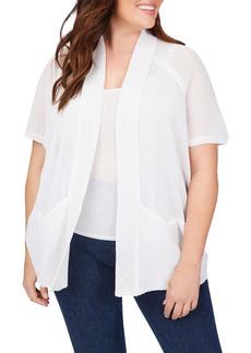 Foxcroft Perla Linen Blend Open Front Cardigan (Plus Size)