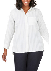 Foxcroft Robyn Chenille Stripe Blouse (Plus Size)