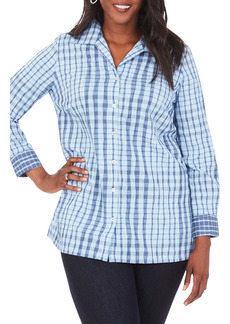 Foxcroft Santino Crinkle Plaid Shirt (Plus Size)