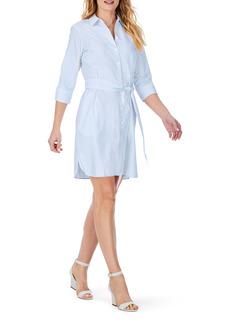 Foxcroft Stripe Belted Non-Iron Shirtdress