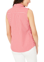 Foxcroft Suzette Gingham Sleeveless Non-Iron Shirt