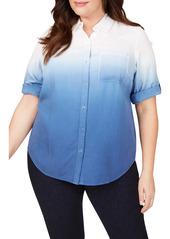 Foxcroft Terry Ombré Button Front Shirt (Plus Size)