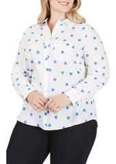 Foxcroft The Hampton Flirty Dot Button-Up Shirt (Plus Size)