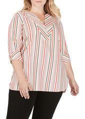 Foxcroft Vaughn Desert Stripe Stretch Cotton Blouse (Plus Size)