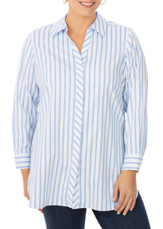 Foxcroft Vera Stripe Non-Iron Tunic Blouse (Plus Size)