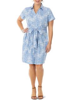 Foxcroft Vienna Python Print Non-Iron Cotton Sateen Shirtdress (Plus Size)