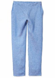 Foxcroft Women's Flat Front Straight Leg Chambray Linen Pant