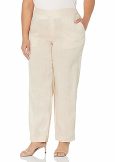 Foxcroft Women's Petite Flat Front Straight Leg Chambray Linen Pant  6P