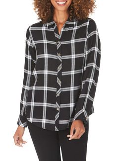 Foxcroft Zoey Brushed Windowpane Button-Up Shirt