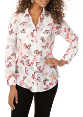 Foxcroft Zoey Butterfly Print Button-Up Shirt