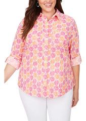Foxcroft Zoey Citrus Slices Print Cotton Shirt (Plus Size)