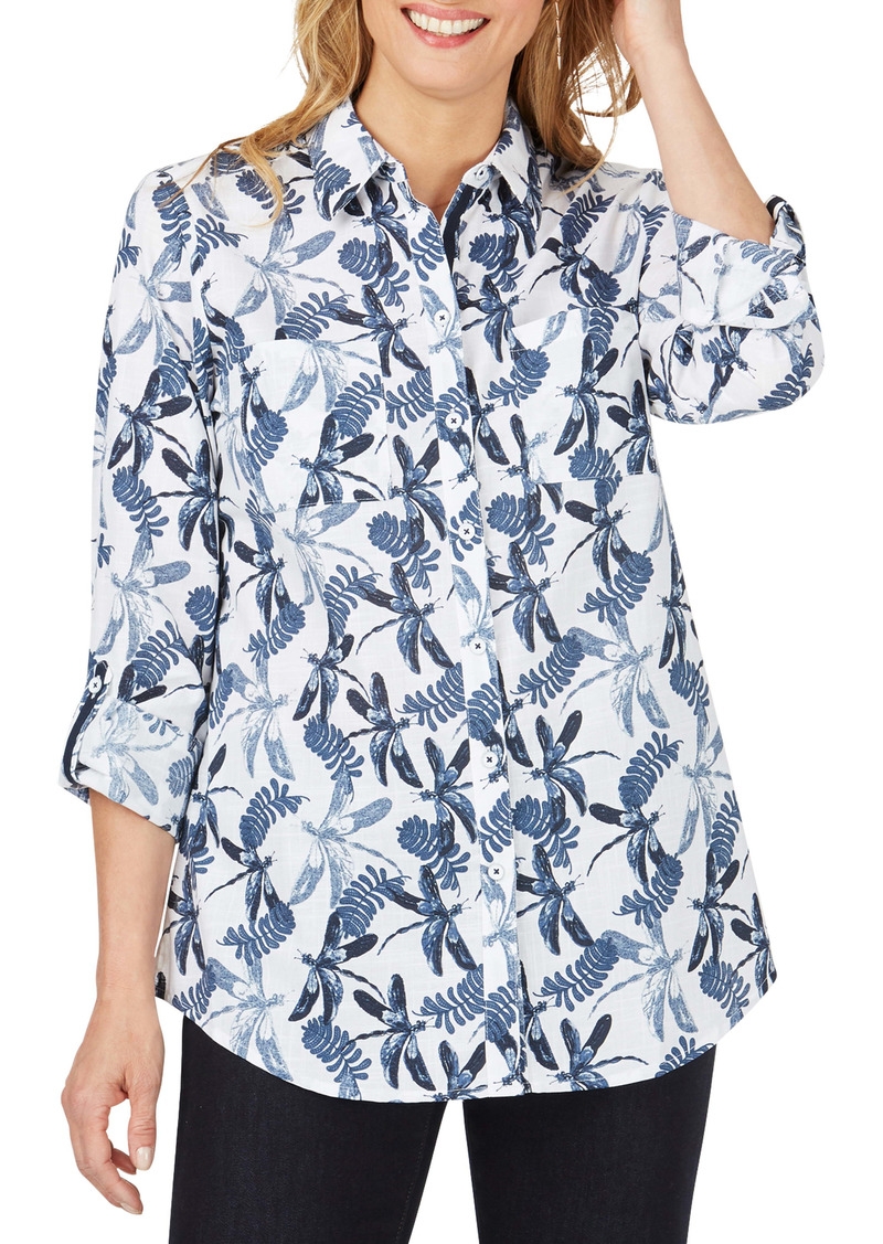 Foxcroft Zoey Dragonfly Print Cotton Slub Button-Up Shirt